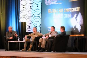 Mike Durant, the President and CEO of Pinnacle Solutions Inc., moderates the Future of Special Operations Forces (SOF) Aviation Panel at the Global SOF Symposium