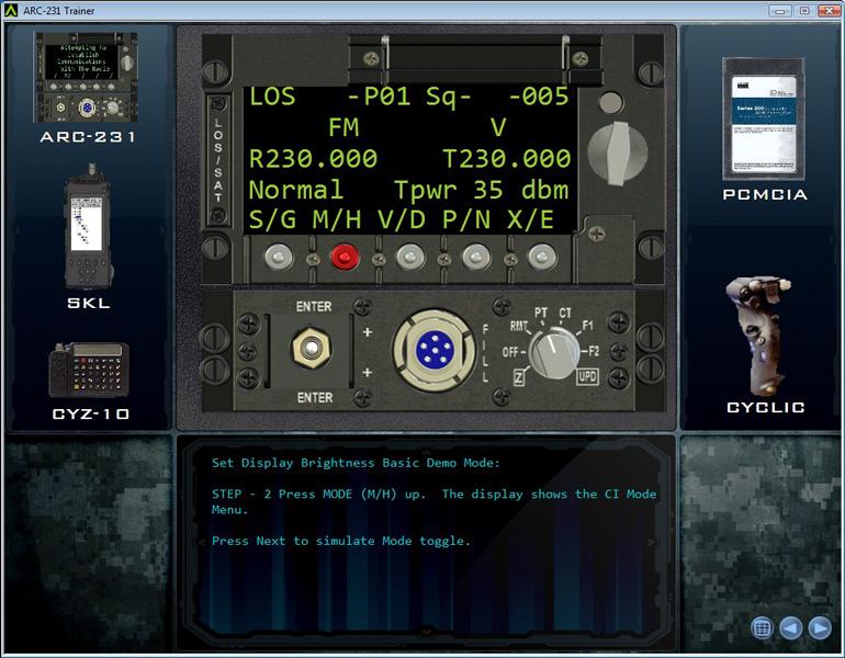 ARC-231 Simulated Screen